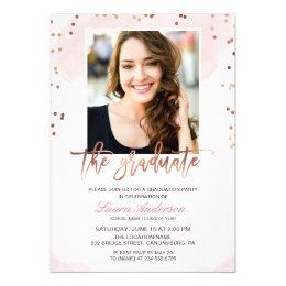 Graduation invitations zazzle trendy rose gold graduate photo graduation party card filmwisefo Images