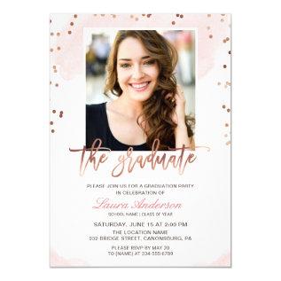 Trendy Rose Gold Graduate Photo Graduation Party Card at Zazzle