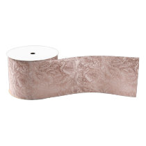 Trendy rose gold hand drawn flowers on blush pink grosgrain ribbon