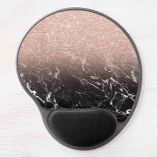 Trendy rose gold ombre black marble color block gel mouse pad