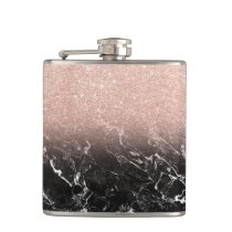 Trendy rose gold ombre black marble color block hip flask