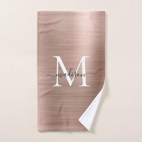 Trendy Rose Gold Pink Metallic Monogram Script Hand Towel