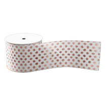 Trendy rose gold polka dots brushstrokes pattern grosgrain ribbon