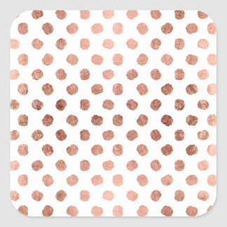 Trendy rose gold polka dots brushstrokes pattern square sticker