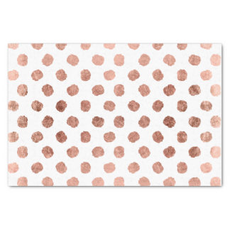 Trendy rose gold polka dots brushstrokes pattern tissue paper