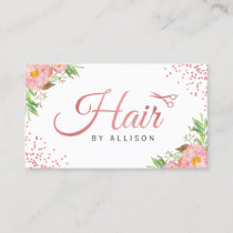 Trendy Rose Gold Scissors Floral Hair Stylist Business Card