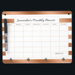 "Trendy Rose Gold Stripes Monthly Planner Calendar Dry Erase Board With Keychain Holder<br><div class=""desc"">Trendy Rose Gold Foil Stripes with white, personalized Text, name, or business information. Elegant chic and stylish. Simple minimal design - Photography Studio, Hair Salon, Shop Boutique, etc Personal or Business Custom Monthly personal or business planner calendar! ~ Check my shop to see the entire Office suite for this design!...</div>"