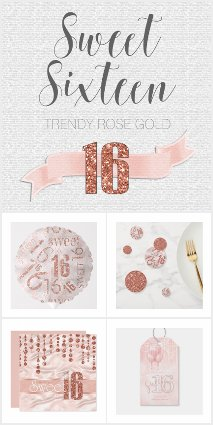 Trendy Rose Gold Sweet Sixteen