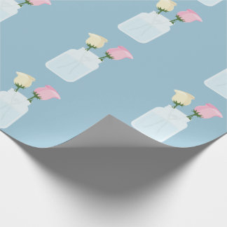 Trendy Rose Light Blue Floral Mason Jar Modern Wrapping Paper
