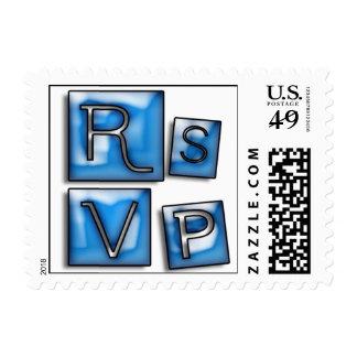Trendy RSVP In Blue Glass Blocks Postage Stamp