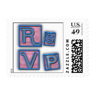 Trendy RSVP In Pink And Blue Neon Blocks Postage