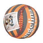 Trendy Rugby Striped Pattern Custom Name and Photo Baseball