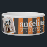 """Trendy Rugby Striped Pattern Custom Name and Photo Bowl<br><div class=""""desc"""">Charcoal Gray and Orange - A preppy designer look with bold stripes and a first and last name. If your art still needs to be adjusted,  click on the Customize This button. This will take you to a design area where you can move things around and even change fonts!</div>"""
