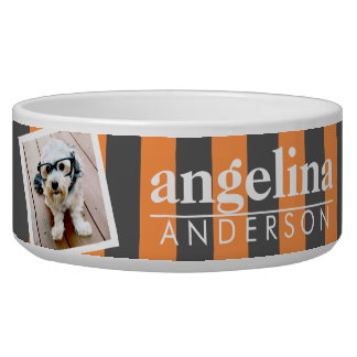 Trendy Rugby Striped Pattern Custom Name and Photo Bowl