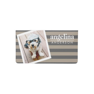 Trendy Rugby Striped Pattern Custom Name and Photo Checkbook Cover