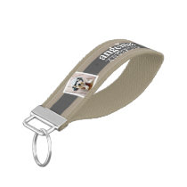 Trendy Rugby Striped Pattern Custom Name and Photo Wrist Keychain