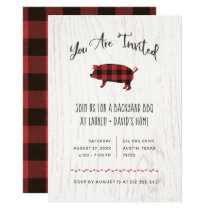 Trendy Rustic BBQ or Party | Red Buffalo Plaid Invitation