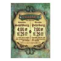Trendy Rustic Patina Wedding Invite
