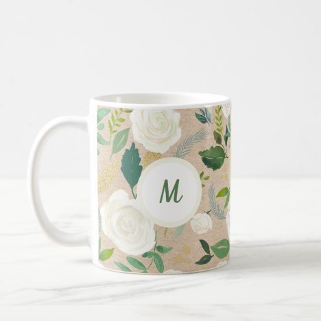 Trendy Rustic White Floral Kraft Look | Monogram Coffee Mug