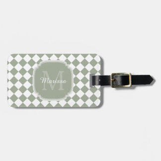 Trendy Sage Green Checked Monogrammed Name Luggage Tag