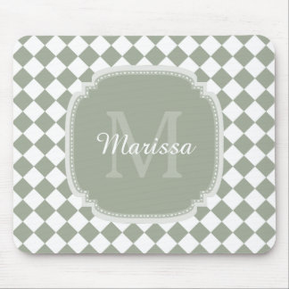 Trendy Sage Green Checked Monogrammed Name Mouse Pad