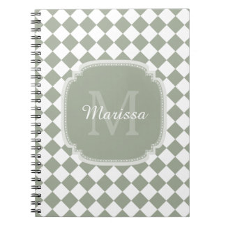 Trendy Sage Green Checked Monogrammed Name Notebook