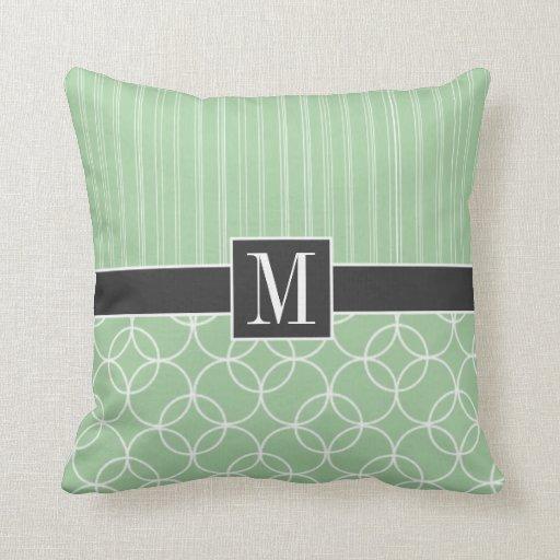 Trendy Sage Green Circles Throw Pillow