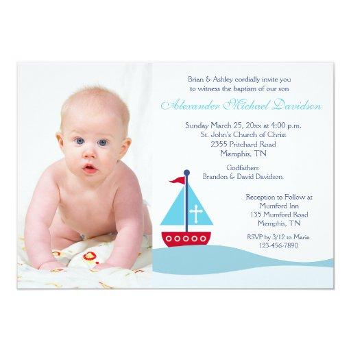 Trendy Sailboat Baptism Photo Invitation 2