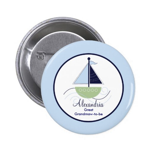 Trendy Sailboat Name Tag Button - Green/Blue