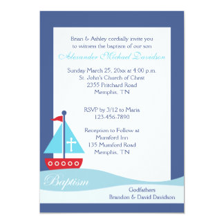Trendy Sailboat (Navy) Baptism Invitation