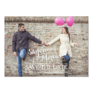 Trendy Save the Date Horizontal Photo Template Card