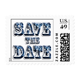 Trendy Save The Date In Saloon Type Blue Text Postage