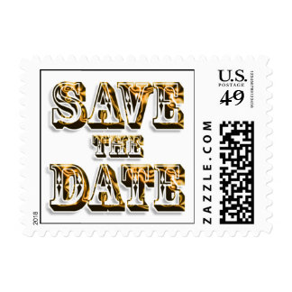 Trendy Save The Date In Saloon Type Gold Text Stamp