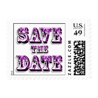 Trendy Save The Date In Saloon Type Pink Text Postage