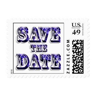 Trendy Save The Date In Saloon Type Purple Text Postage