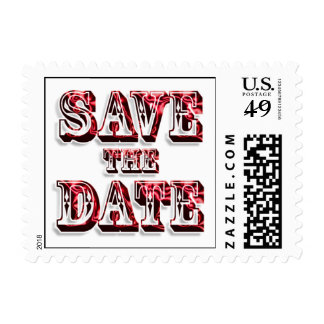 Trendy Save The Date In Saloon Type Red Text Postage Stamp