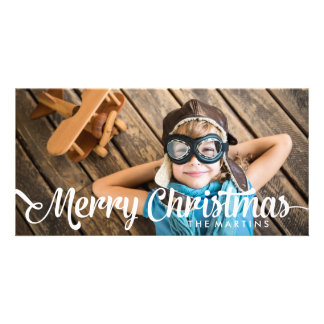 Trendy Script Merry Christmas Holiday Card