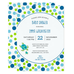 Turtle baby shower invitations zazzle trendy sea turtle baby shower blue green dots invitation filmwisefo