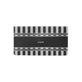 Trendy Silver and Black Stripes Checkbook Cover