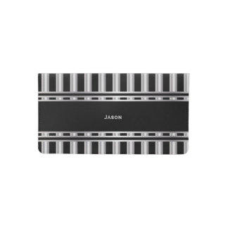 Trendy Silver and Black Stripes Checkbook Cover