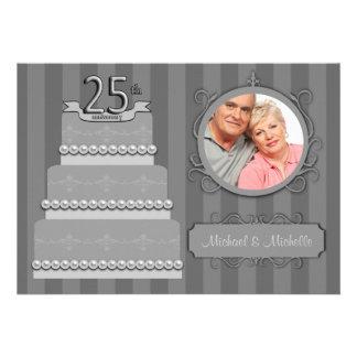 Trendy Silver Damask 25th Anniversary Photo Invite