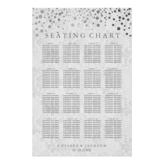 Trendy Silver Dots on White Damask- Seating Chart Poster