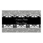 Trendy Silver Glitter Black & White Damask Business Card Template