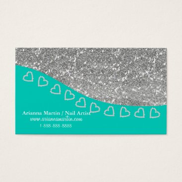 Professional Business Trendy Silver Glitter & Tiny Diamond Hearts Bling Business Card