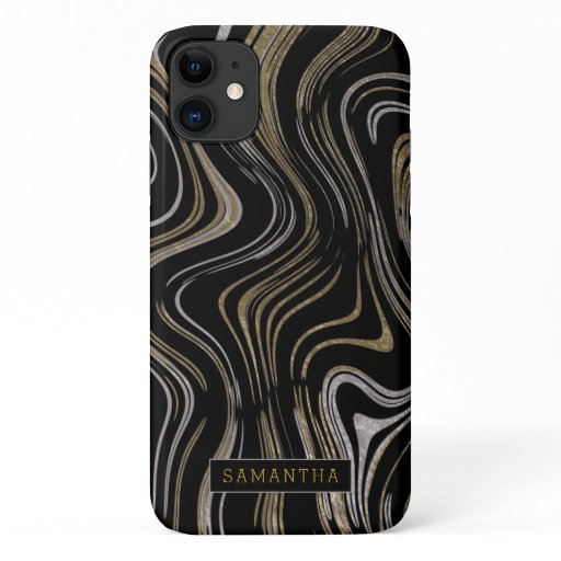 Trendy Silver Gold Foil Marbled Monogram iPhone 11 Case