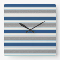 Trendy Silver Gray And Blue Stripes Pattern Square Wall Clock