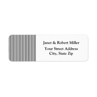 Trendy Silver Grey Horizontal Stripes Label