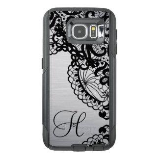 Trendy Silver with Black Lace & custom Monogram OtterBox Samsung Galaxy S6 Case