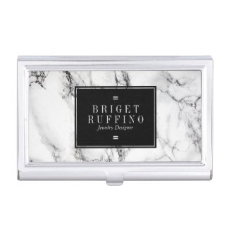 Trendy Simple Black And White Marble Stone Business Card Case