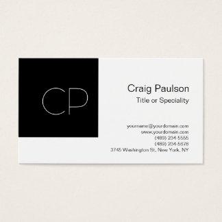 Trendy Simple Black White Monogram Business Card